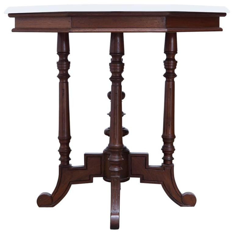 19th Century English Victorian Marble Top Octagonal Center Table