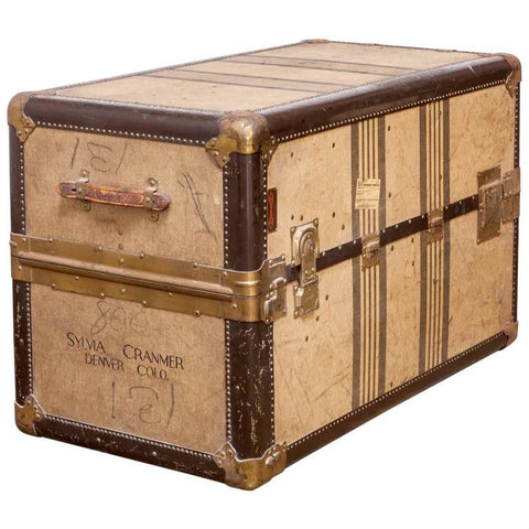 Important Louis Vuitton Style Canvas Steamer Trunk