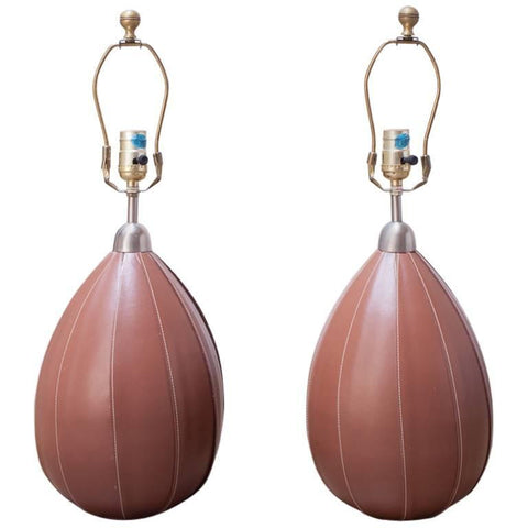 Pair of Ralph Lauren Stitched Leather Table Lamps