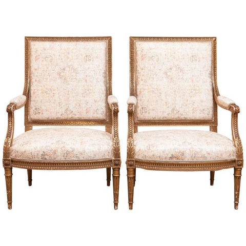 Pair of Louis XVI 19th Century Gilded Fauteuils a la Reine