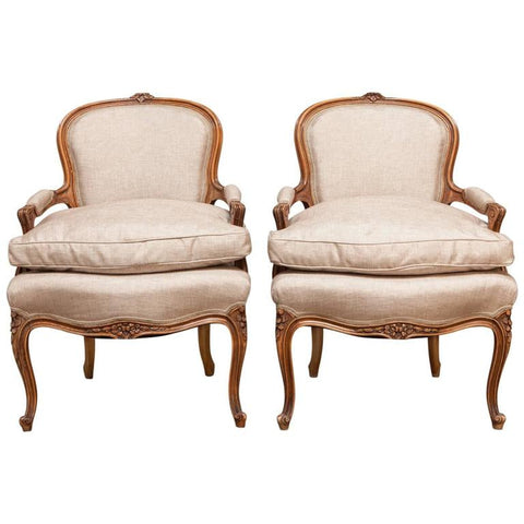 Pair of 19th Century Louis XV Carved Fauteuils