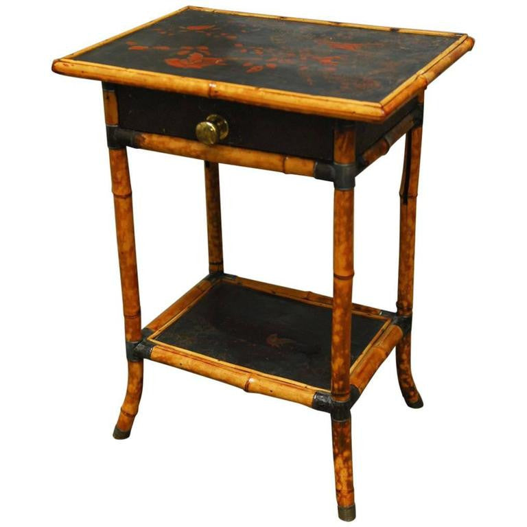 Two-Tier English Scorched Bamboo Chinoiserie Table