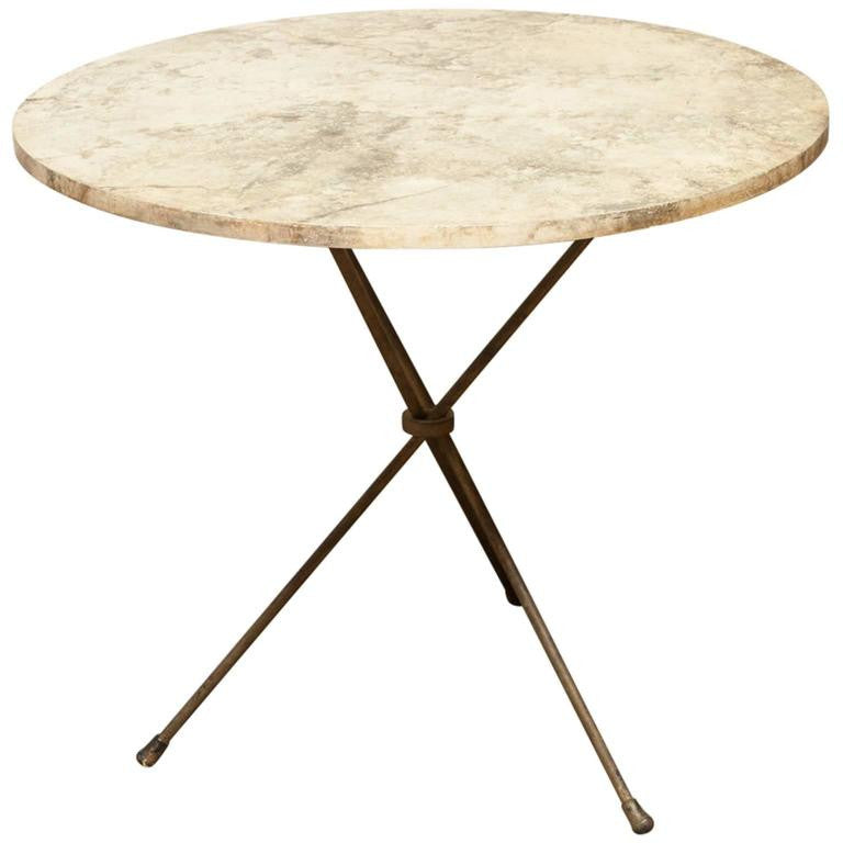 Mid-Century French Faux Marble Tripod Drink Table