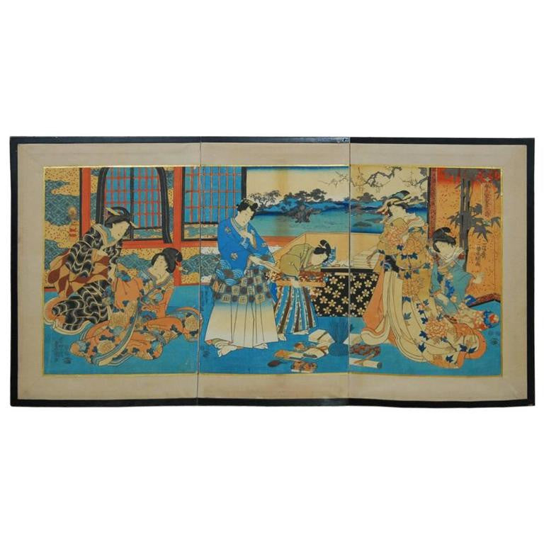 Utagawa Kunisada Japanese Ukiyo-E Woodblock Print Screen