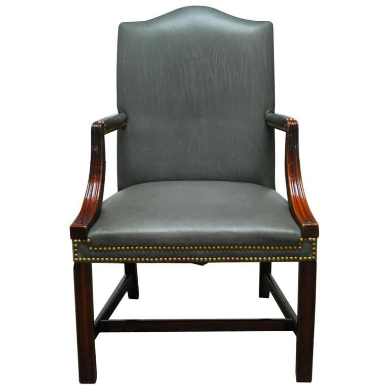 Georgian Style Mahogany Gainsborough Leather Library Chair