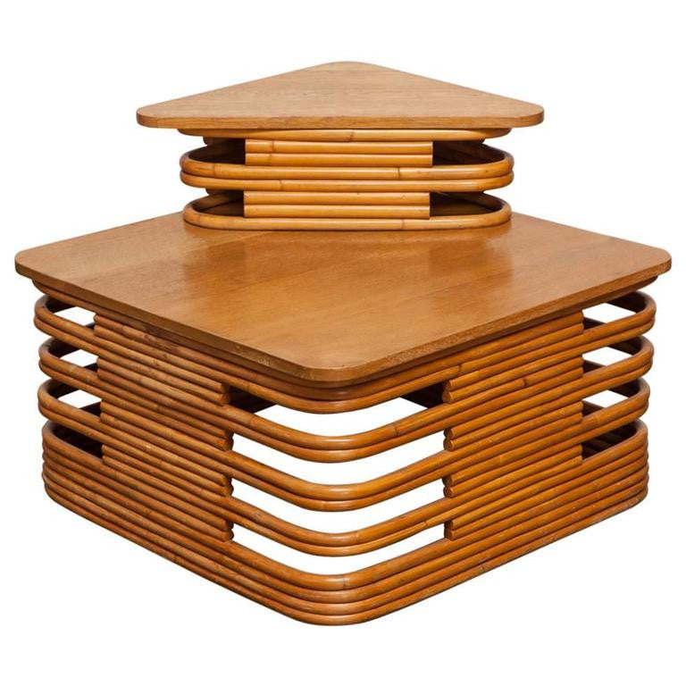 Two-Tier Stacked Rattan Corner Table by Paul Frankl