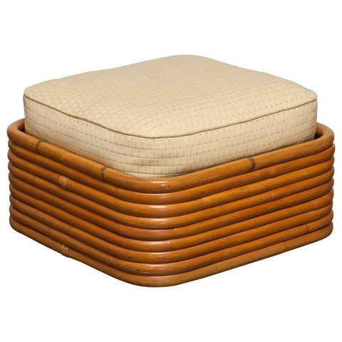 Stacked Rattan Ottoman by Paul Frankl