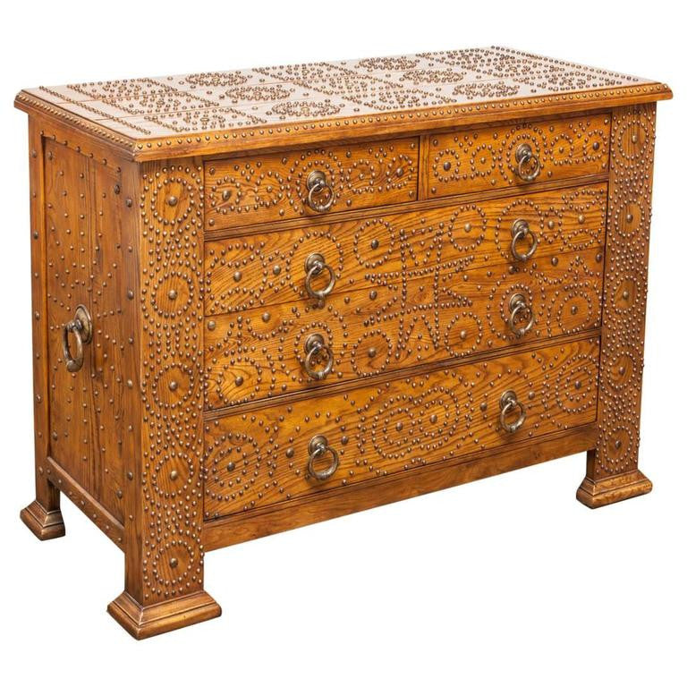 Brass Studded Oak Chest of Drawers