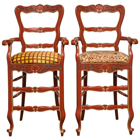 Pair of Carved French Country Red Bar Stools