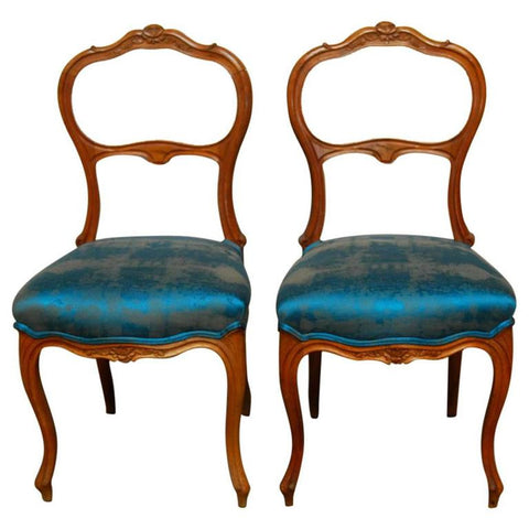 Pair of Petite French Carved Chairs