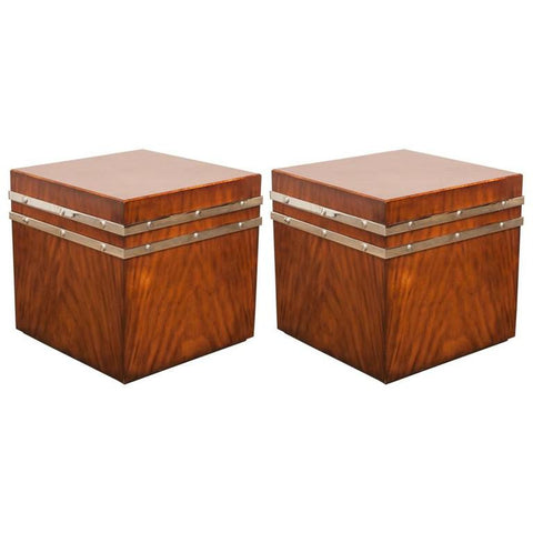 Pair of Mahogany Cube Tables with Chrome Strapping