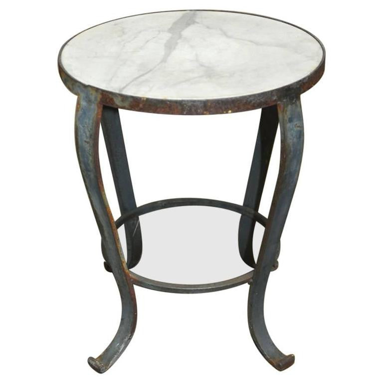 French Wrought Iron Marble Drinks Table