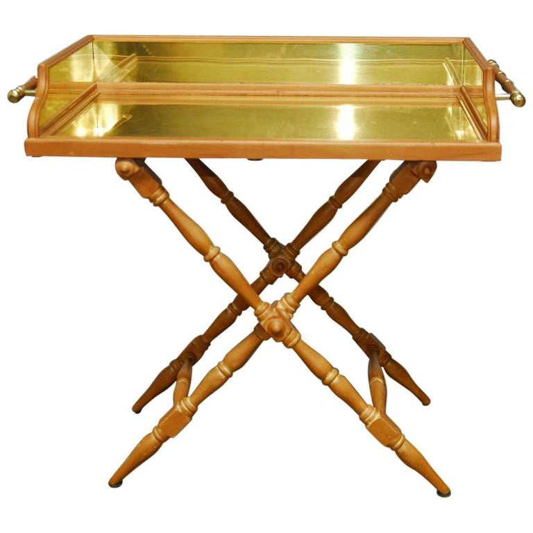 Italian Pine and Brass Butler's Tray Table
