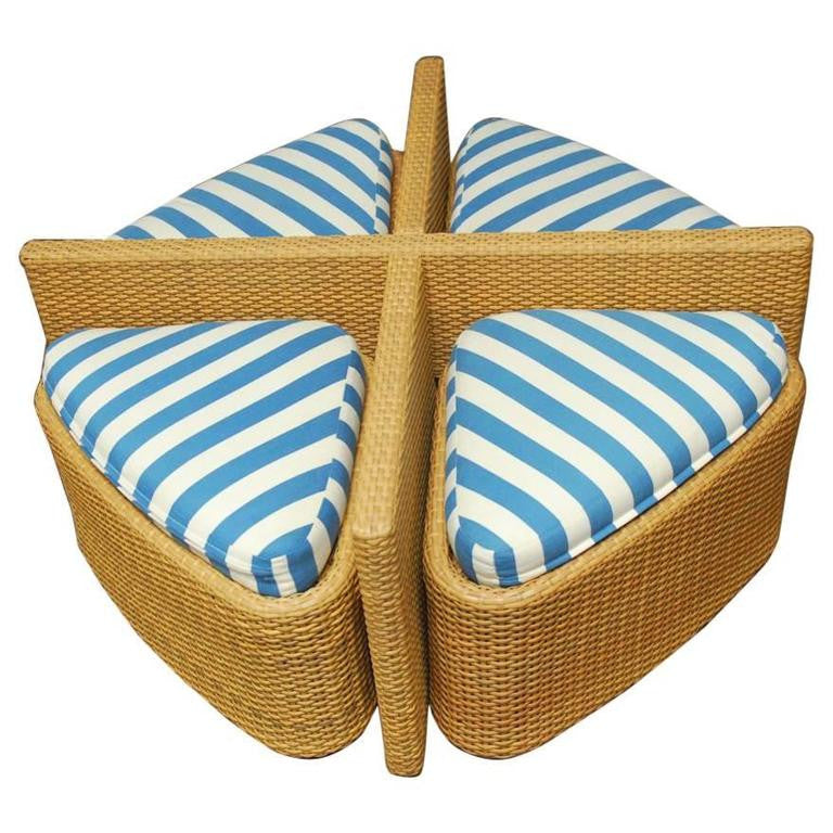 Modern Wicker Sushi Table with Ottomans
