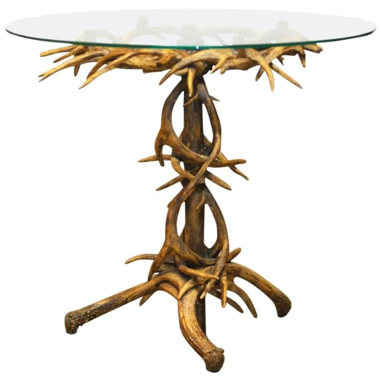 Black Forrest Style Faux Antler Drink Table