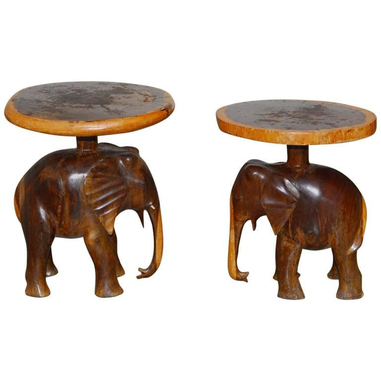 Superieur Pair Of Carved Elephant Drink Tables Or Stools
