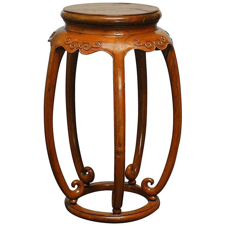 Chinese Carved Elmwood Pedestal Stand