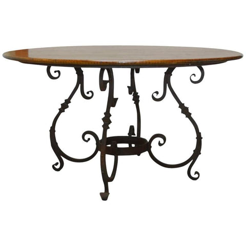 Italian Oak and Scrolled Iron Round Dining Table