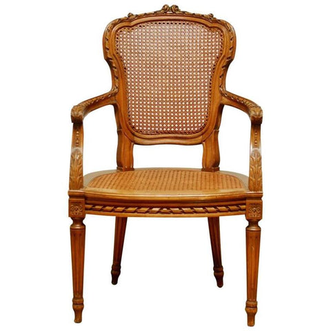 Neoclassical Louis XVI Shield Back Caned Fauteuil