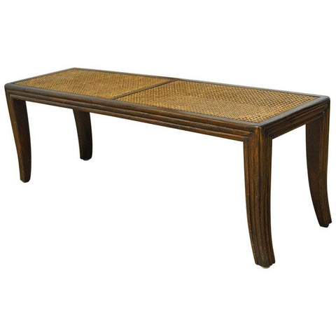 McGuire Caned Mahogany Bench with Saber Legs