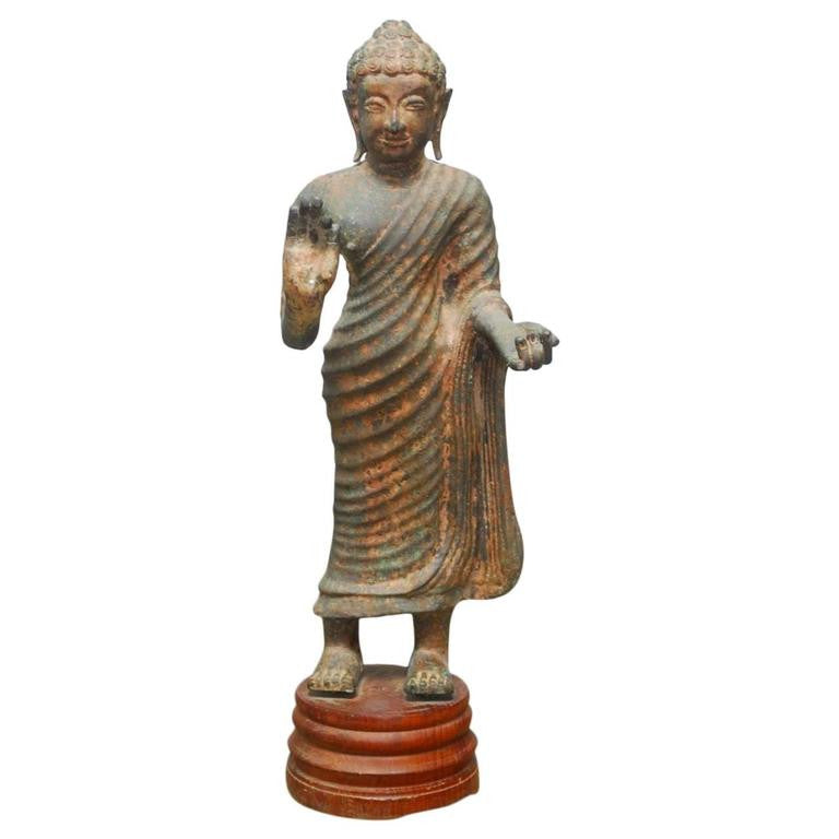 Cast Iron Standing Buddha on Stand