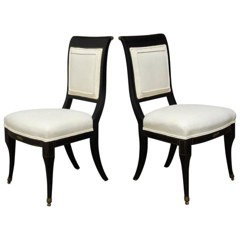 Pair of English Regency Black Lacquer Chairs by Baker
