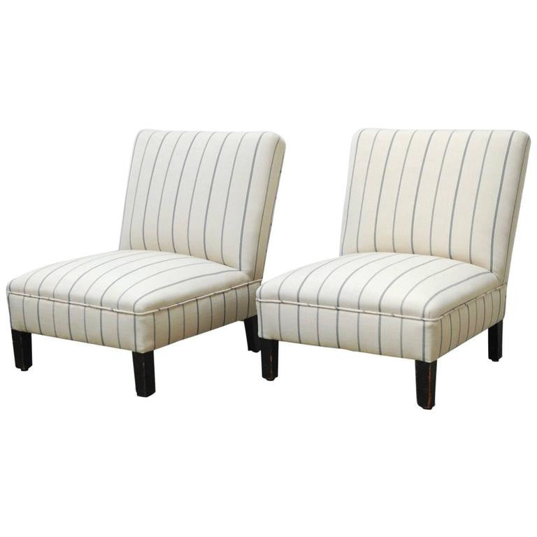 Pair Of French Linen Striped Slipper Chairs