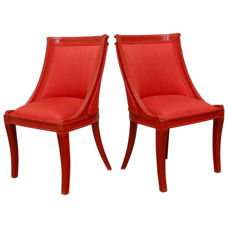 Pair Of Red Lacquer Regency Style Chairs Regency Style Furniture17