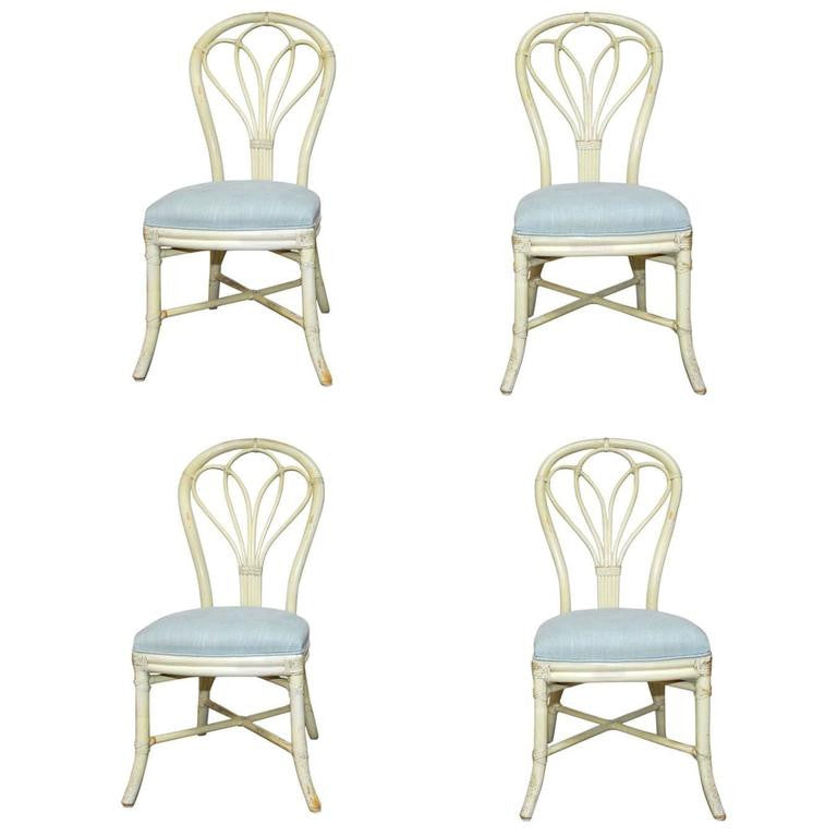 Set of Four McGuire Lacquered Rattan Bistro Chairs