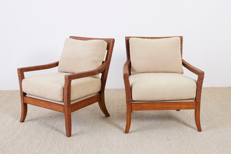 ... Billy Baldwin Style Rattan Wrapped Lounge Chairs ...