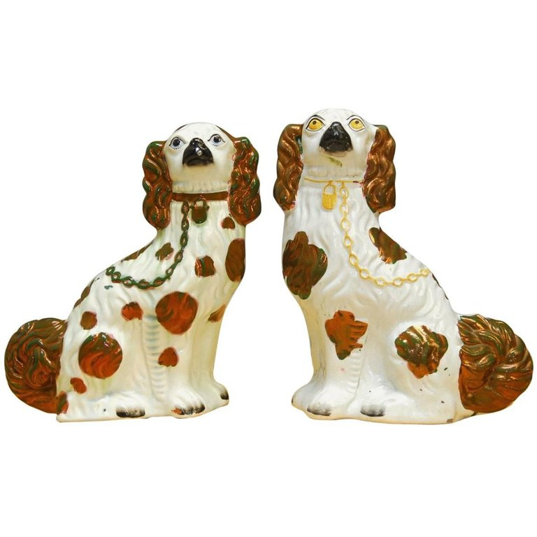Pair of English Staffordshire Porcelain Spaniels
