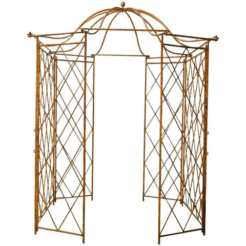 Gilt Metal Faux Bamboo Gazebo with Pagoda Roof