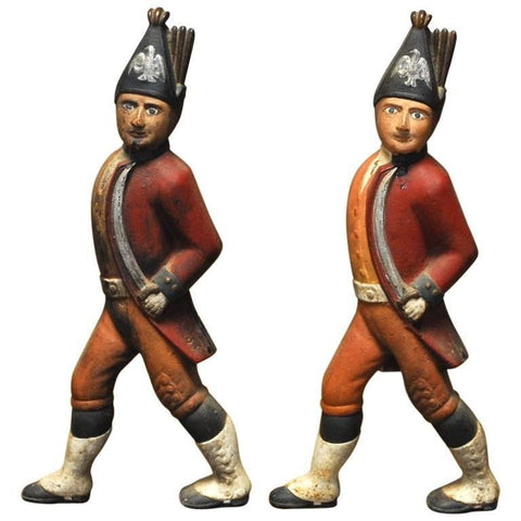 Pair of Painted Iron Hessian Soldier Andirons