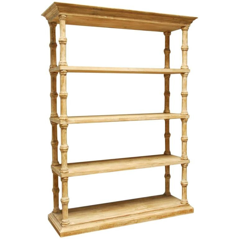 Rustic Washed Pine Four-Shelf Etagere Bookcase