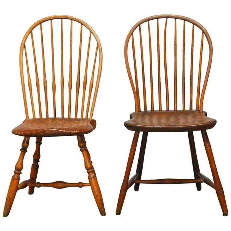 Assembled Pair Of American Bow Back Windsor Chairs