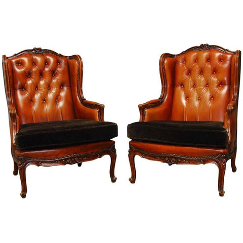 Pair of Louis XV Tufted Cognac Leather Wingbacks