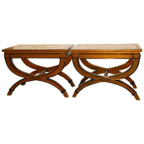 Pair of Curule X-Form Gilt Benches or Drink Tables