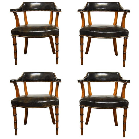 Set of Four Leather and Mahogany Library Chairs