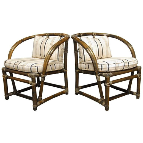 Pair of Bamboo Barrel Back Chairs by McGuire