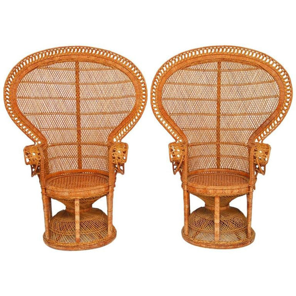 Pair of Rattan Emmanuel Peacock Chairs