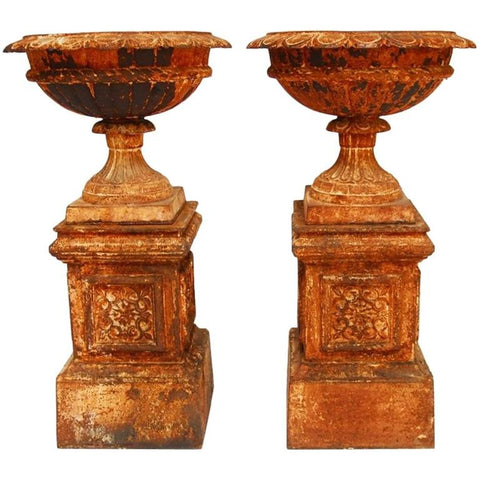 Pair of French Cast Iron Garden Urns on Plinths