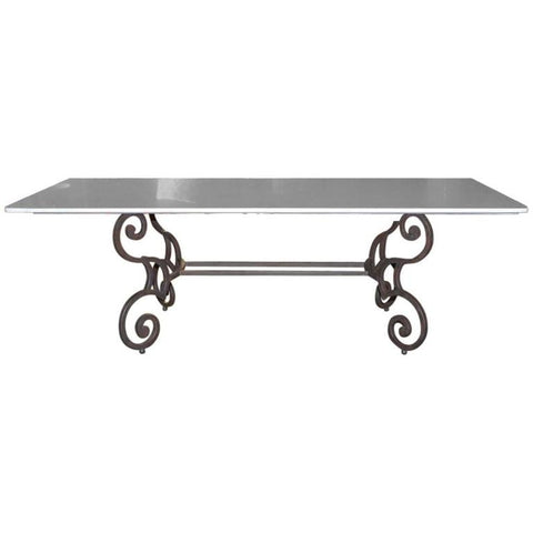 Italian Marble-Top Dining Table with Scrolled Iron Base