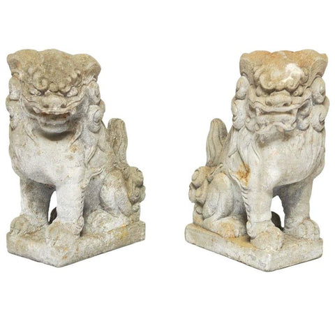 Pair of Chinese Stone Guardian Foo Lions