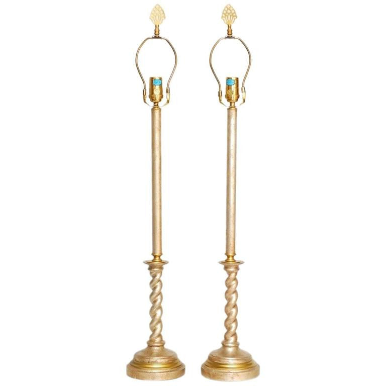 Pair of Silver Gilt Candlestick Table Lamps