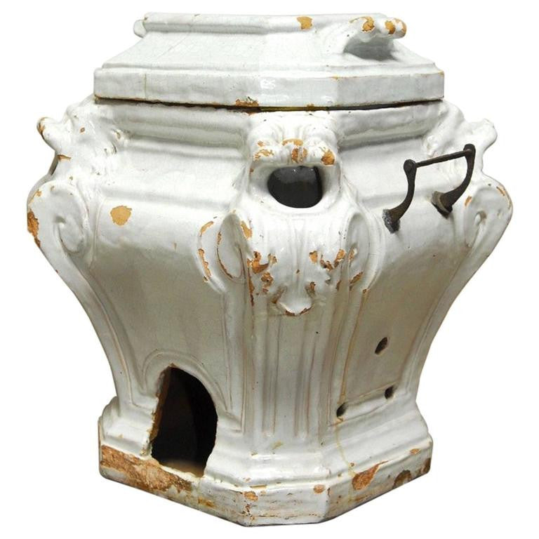 19th Century French Earthenware Censer or Small Stove