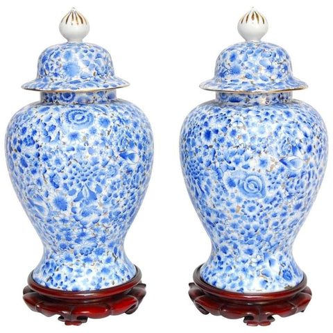 Pair of Chinese Porcelain Blue and White Ginger Jars