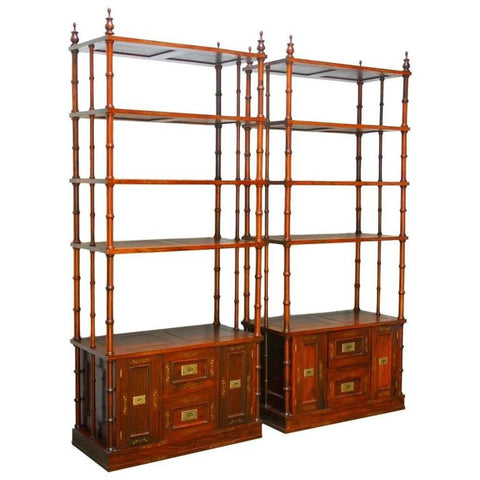 Pair of Anglo Indian Rosewood Étagère Display Cabinets