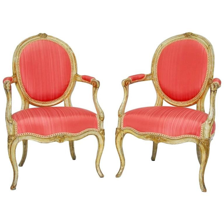 Pair of Louis XV Period Painted and Parcel Gilt Fauteuils