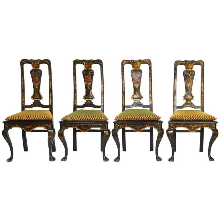 Set of Four Queen Anne Style Chinoiserie Painted Dining Chairs
