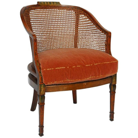 English Painted and Caned Edwardian Armchair